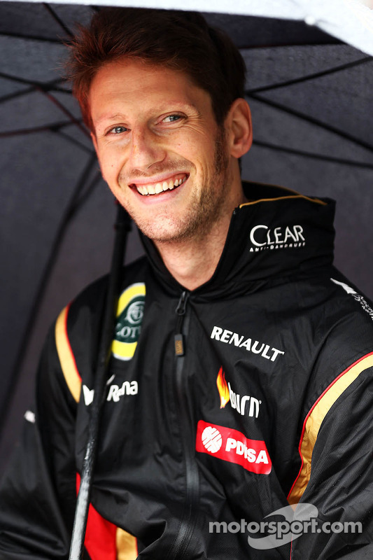 Romain Grosjean, Lotus F1 Team na parada dos pilotos