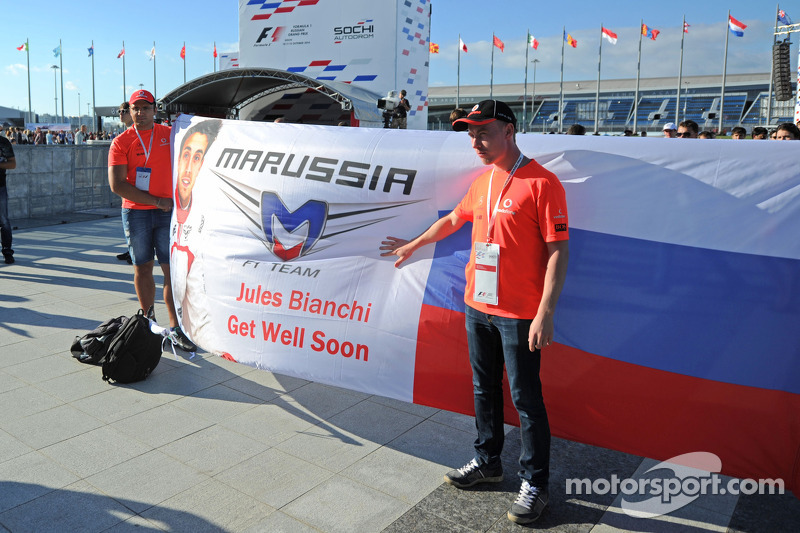 A Get Well Soon banner for Jules Bianchi, Marussia F1 Team
