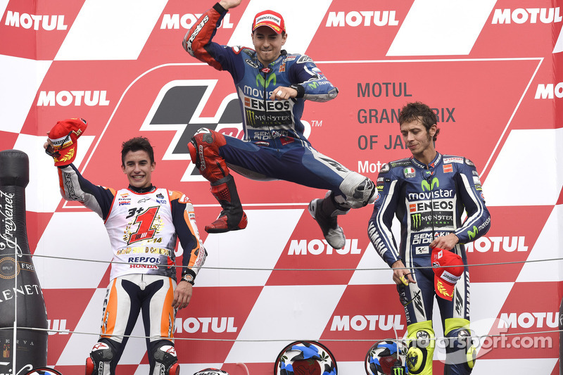 2014 podium with winner Jorge Lorenzo, Marc Marquez and Valentino Rossi