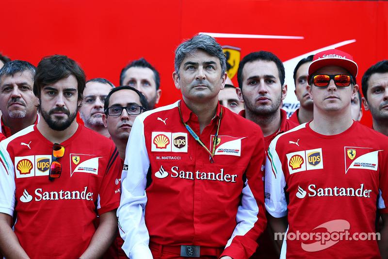 Fernando Alonso, Ferrari; Marco Mattiacci, Ferrari Team Principal; Kimi Raikkonen, Ferrari and members of the Ferrari and Marussia F1 Team show their support for Jules Bianchi