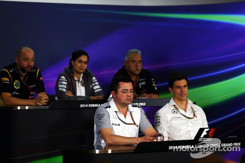 Gerard Lopez, Lotus F1 Takım Patronu; Monisha Kaltenborn, Sauber Takım Müdürü; Dr. Vijay Mallya, Sah