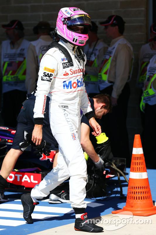 Jenson Button, McLaren en parc ferme