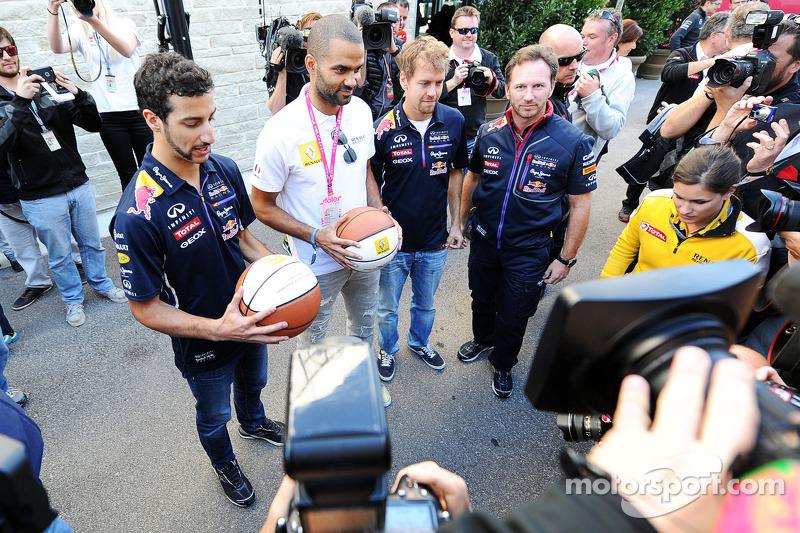 (L to R): Daniel Ricciardo, Red Bull Racing with Tony Parker, NBA Basketball Player; Sebastian Vette