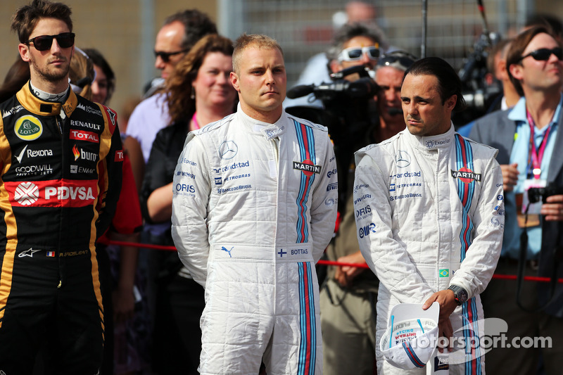(L to R): Valtteri Bottas, Williams with team mate Felipe Massa, Williams on the grid