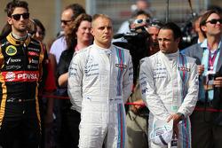 (Soldan Sağa): Valtteri Bottas, Williams ve takım arkadaşı Felipe Massa, Williams gridde