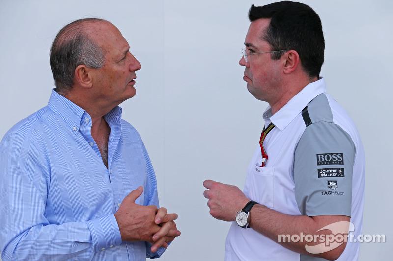 (L to R): Ron Dennis, McLaren Executive Chairman with Eric Boullier, McLaren Racing Director