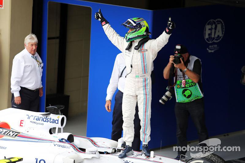 Felipe Massa, Williams FW36 celebrates his third position in parc ferme