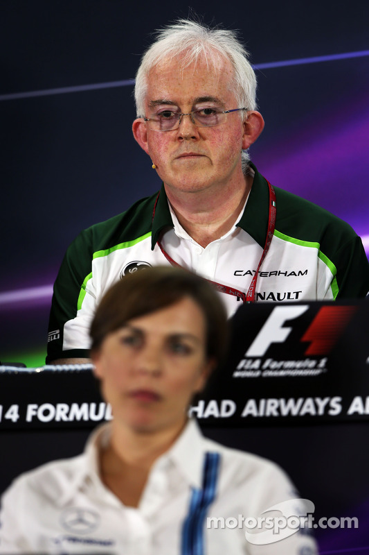 Finbarr O'Connell, Caterham F1 Team Administrator and Claire Williams, Williams Deputy Team Principal in the FIA Press Conference