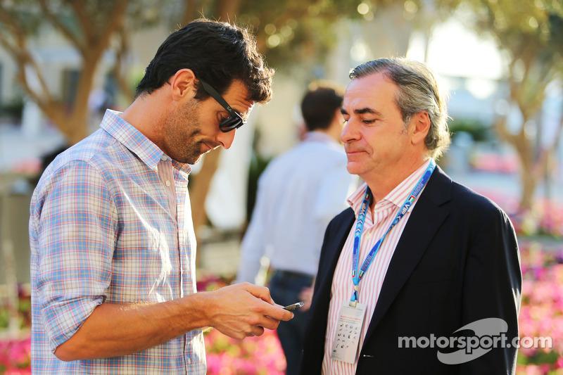 (L to R): Mark Webber, Porsche Team WEC Driver with Carlos Sainz