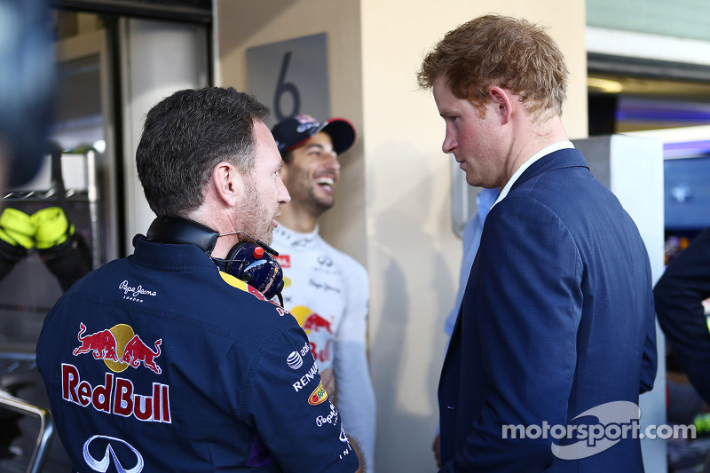 (L to R): Christian Horner, Red Bull Racing Team Principal with HRH Prince Harry
