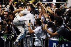 Felipe Massa, Williams celebrates his second position with the team in parc ferme