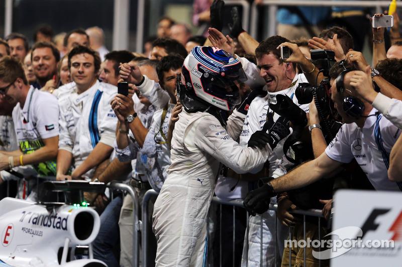 Valtteri Bottas, Williams celebra su tercer puesto con el equipo en parc ferme