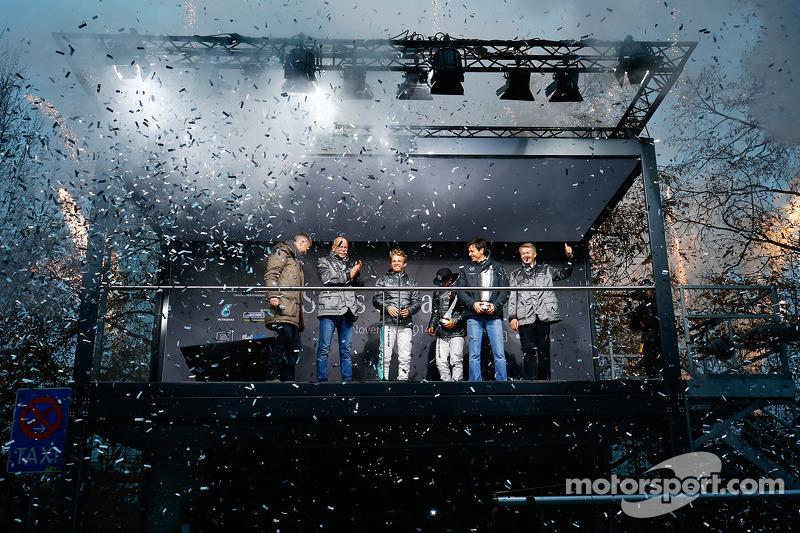 Heiko Wasser, Dr. Dieter Zetsche, Nico Rosberg, Lewis Hamilton, Toto Wolff, Dr. Thomas Weber