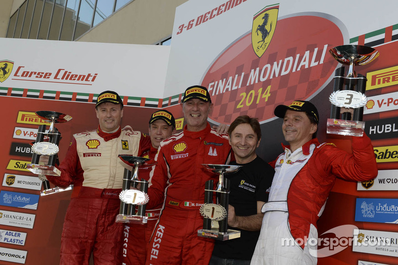 Ferrari Challenge Europe race 1 podium - Coppa Shell: winner Massimiliano Bianchi, second place Dirk Adamski