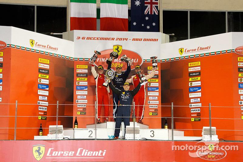 Ferrari Challenge APAC/NA race 1 podium: race winner Max Blancardi