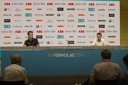 Nick Heidfeld, Mahindra Racing, Sébastien Buemi, Renault e.Dams, Edoardo Mortara, Venturi Formula E Team, in de persconferentie