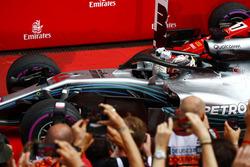 Lewis Hamilton, Mercedes AMG F1, celebrates in parc ferme
