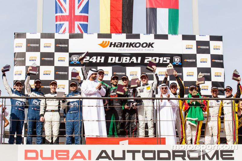 General podium: race winners Abdulaziz Al Faisal, Hubert Haupt, Yelmer Buurman, Oliver Webb, second place Cheerag Arya, Thomas Jäger, Tom Onslow-Cole, Adam Christodoulou, third place Mohammed Jawa, Jordan Grogor, Matt Griffin, Rob Barff