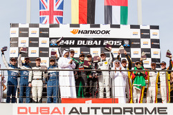 General podium: race winners Abdulaziz Al Faisal, Hubert Haupt, Yelmer Buurman, Oliver Webb, second place Cheerag Arya, Thomas Jäger, Tom Onslow-Cole, Adam Christodoulou, third place Mohammed Jawa, Jordan Grogor, Matt Griffin, Rob Barff