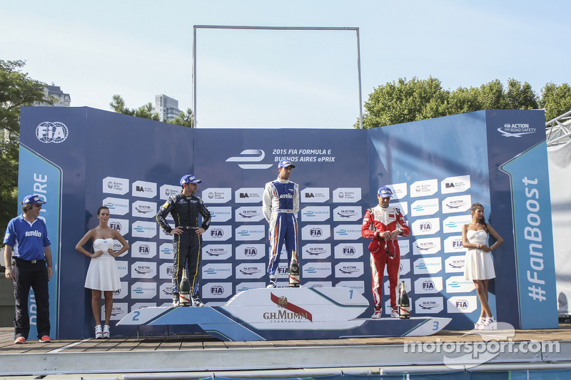 Podium: race winner Antonio Felix da Costa, second place Nicolas Prost, third place Nelson Piquet Jr