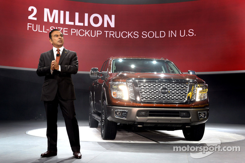 Nissan President and Chief Executive Officer Carlos Ghosn with the Nissan Titan