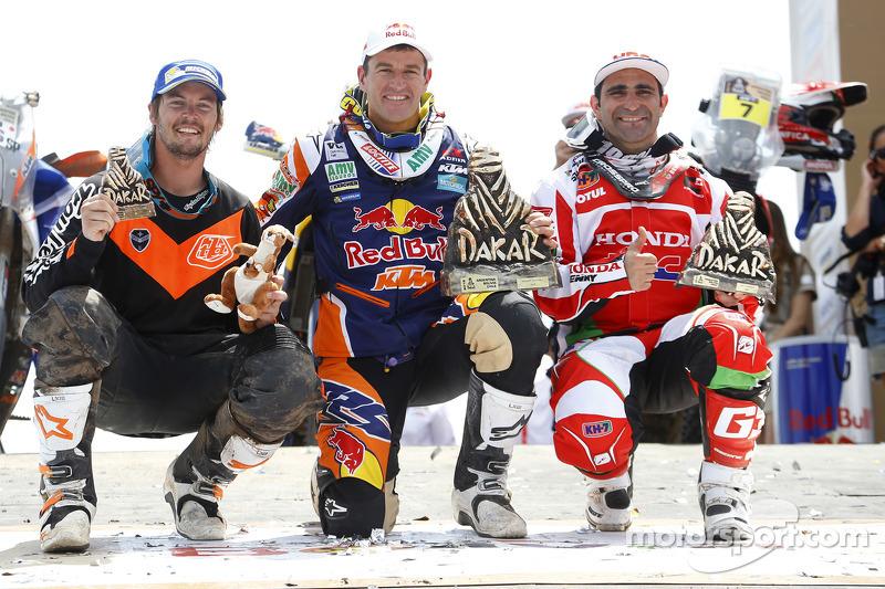Motorrad-Podium: 1. Marc Coma, 2. Paulo Goncalves, 3. Toby Price