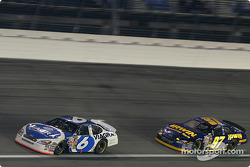 Mark Martin and Kurt Busch fight for the lead