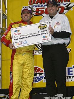 Drivers presentation: Brendan Gaughan receives a check