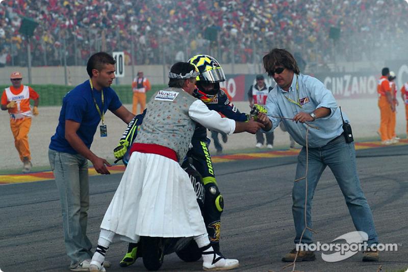 Ganador, Valentino Rossi celebra