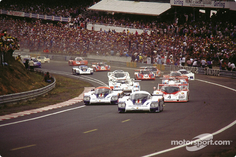 Start of the 1982 24 hours of Le Mans: #1 Porsche 956 of Jacky Ickx, Derek Bell takes the lead in front of #2 Porsche 956 of Jochen Mass, Vern Schuppan
