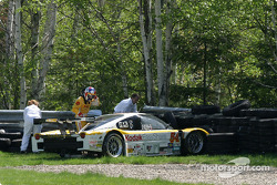 #54 Bell Motorsports Pontiac Doran: Forest Barber, Terry Borcheller in the tire barrier