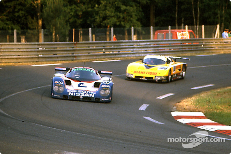 Nissan Motorsport Nissan R89C : Masahiro Hasemi, Kazuyoshi Hoshino, Toshio Suzuki; GP Motorsport Spice SE87C Ford: Dudley Wood, Philippe de Henning, Evan Clements