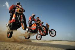 KTM team testing: KTM Repsol Red Bull riders Giovanni Sala, Marc Coma and Isidre Esteve Pujol