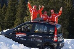 Fiat Panda race: Michael Schumacher, Luca Badoer and Rubens Barrichello with the Fiat Panda 4x4 cars