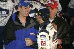 Victory lane: Kyle Busch congratulates race winner Jimmie Johnson