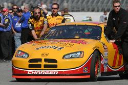 Kodak Dodge crew push the #77 car to qualifying line