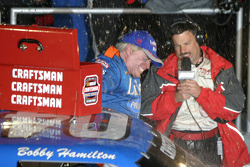 Victory lane: race winner Bobby Hamilton celebrates