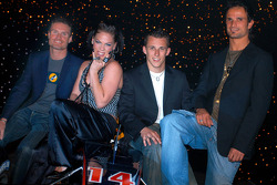 Red Bull Racing launch party: David Coulthard, pop singer Pink, Christian Klien and Vitantonio Liuzzi
