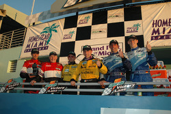 DP podium: overall and class winner Max Angelelli and Wayne, with Elliott Forbes-Robinson and Butch Leitzinger, and Jorg Bergmeister and Max Papis