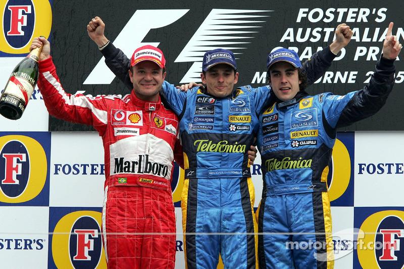 2005. Подіум: 1. Джанкарло Фізікелла, Renault. 2. Рубенс Баррікелло, Ferrari. 3. Фернандо Алонсо, Renault