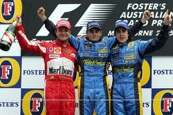 Podium: Sieger Giancarlo Fisichella mit Rubens Barrichello und Fernando Alonso