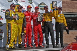 DP podium: overall and class winners Luis Diaz and Scott Pruett, with Wayne Taylor, Max Angelelli, and Mike Borkowski, Paul Mears Jr.