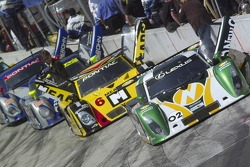 Cars line up on the grid