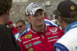 Dale Earnhardt Jr. talks with Jamie McMurray