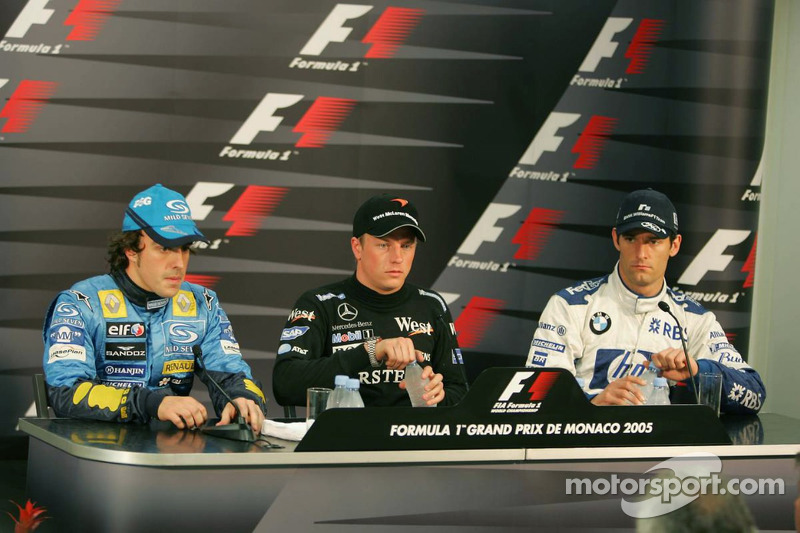 Press conference: provisional pole winner Kimi Raikkonen with Fernando Alonso and Mark Webber