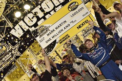 Victory lane: race winner Mark Martin with his big check