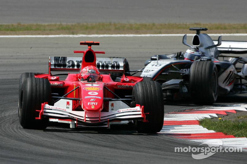Michael Schumacher and Juan Pablo Montoya