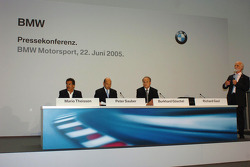 Dr Mario Theissen (BMW Motorsport Director) Peter Sauber, and Prof Burkard Goeschel (Board member for Development BMW Group)