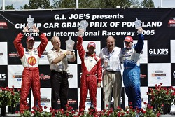 Cristiano da Matta, Sébastien Bourdais, Paul Tracy, Kevin Kalkhoven and Dan Pettit on the victory podium