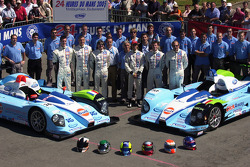 #36 and #37 Paul Belmondo Racing Courage Ford: Claude-Yves Gosselin, Karim Ojjeh, Adam Sharpe, Paul Belmondo, Didier André, Rick Sutherland and team